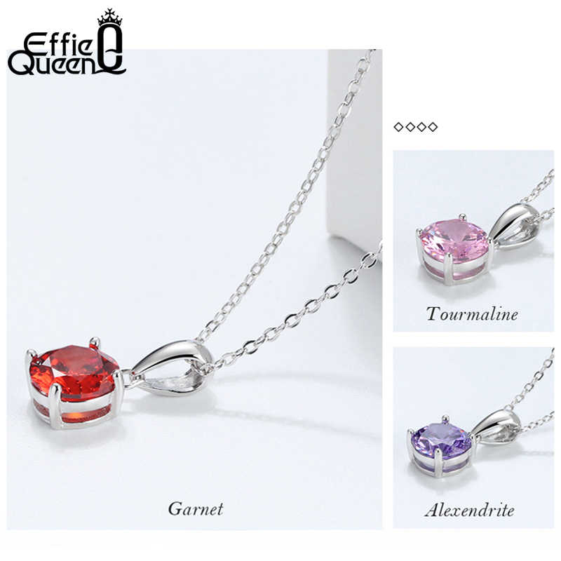 Effie Queen Real 925 Sterling Silver Pendant Necklace Lucky Birthstone Multi Color Zircons Stud Necklaces Women Jewelry BN118