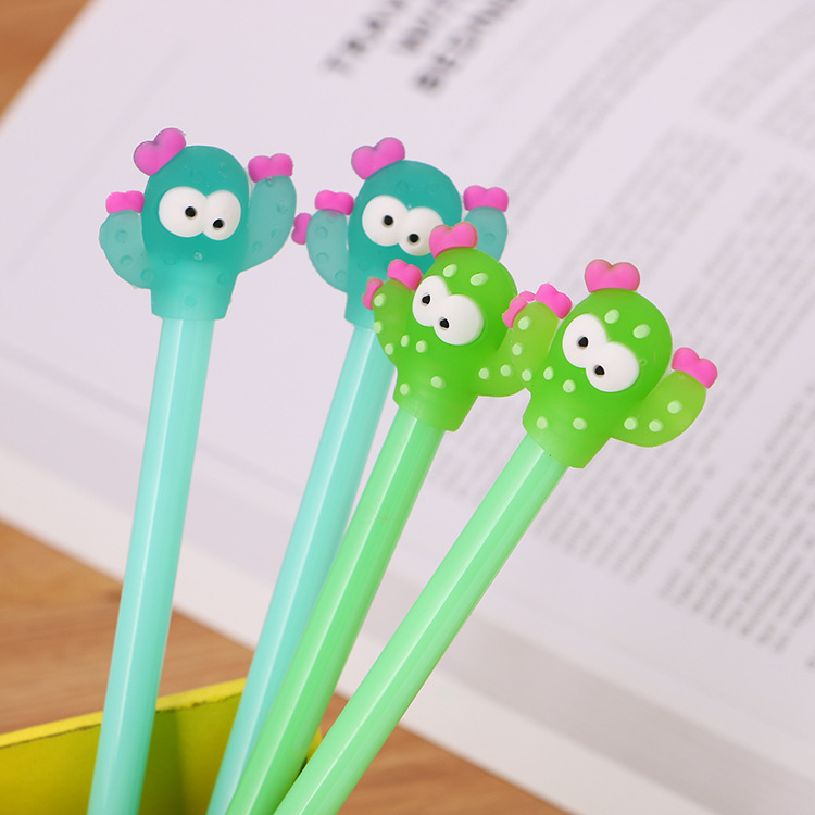 1Pcs Cute Stationary Creative Cactus Modeling Gel Pen 0.5mm Black Ink Signing Pen Kawaii School Supplies Office Supplies