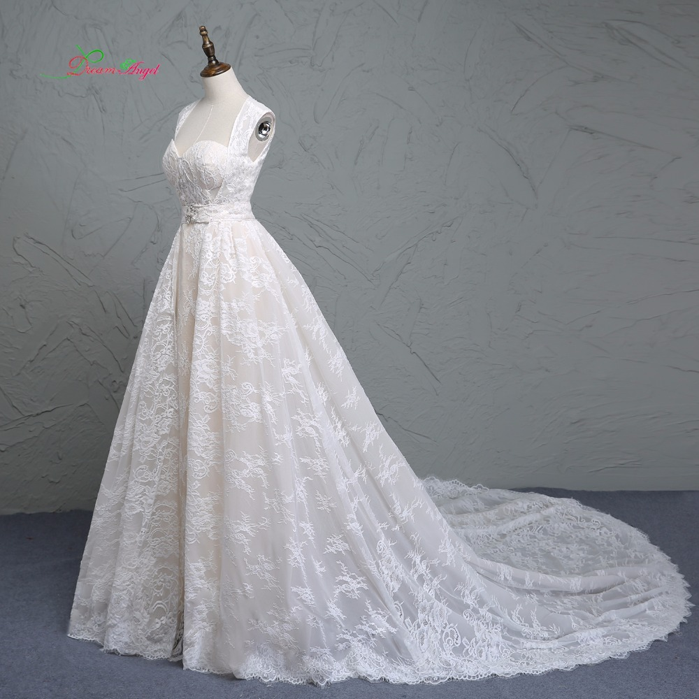 Detachable Cathedral Train Wedding Gown: Fmogl Elegant Detachable Train Lace Wedding Dress 2019