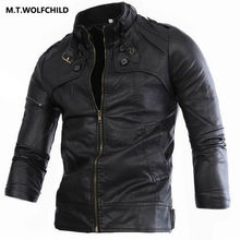 2017 brand motorcycle stand collar personality PU jacket Casual men's clothing coats Fashion zipper Jackets free shipping  M-4XL