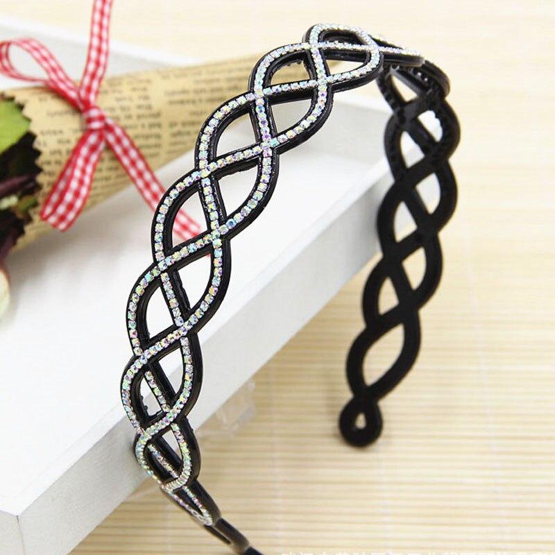 Twist rhinestone crystal teeth hair bands hoop fashion girls headband hairband for women Adult   headwear   fashion hair accessories