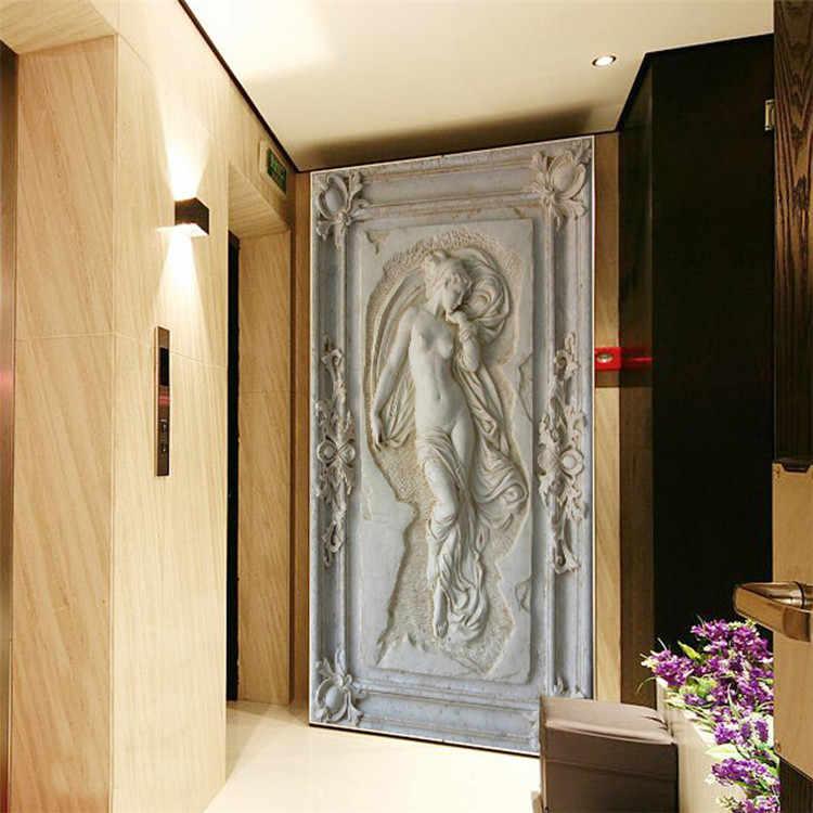 ที่กำหนดเอง 3D สามมิติบรรเทา Angel รูปปั้นเปลือยภาพจิตรกรรมฝาผนังวอลล์เปเปอร์ Entrance Hallway Corridor ฉากหลังวอลล์เปเปอร์กำแพง