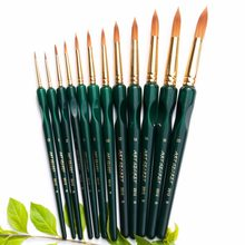 2012R high quality Korea importing taklon hair triple wedge grip wooden handle paint art supplies watercolor acrylic brush(China)