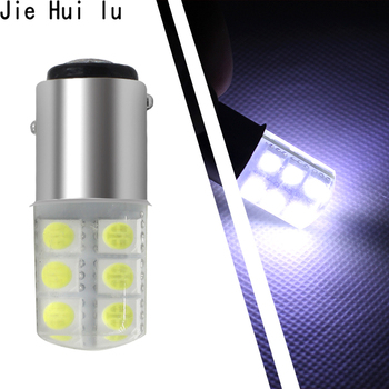 1 Piece Car 1157 COB Led Light 1156 BA15S P21W 5050 Smd 6 Led Smd Auto Brake Turn Signal Bulb Crystal White 12V Parking Styling image