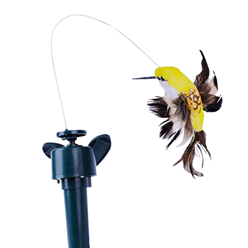 Solar Powered Rotating Humming Bird Flying Garden Ornament Path Decoration Steel Wire Teaser Supply Pet Toy Multifunction