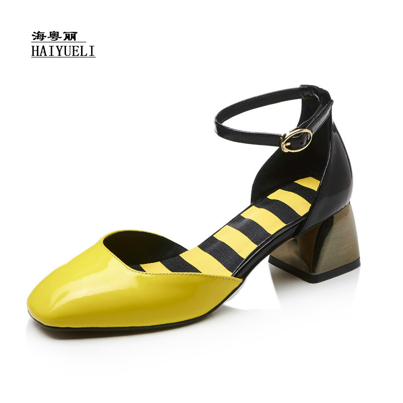 Top Product Women Shoes Genuine Leather Pure Handmade Thick Heel Women Sandals High Heels Shoes luxury brand crystal patent leather sandals women high heels thick heel women shoes with heels wedding shoes ladies silver pumps