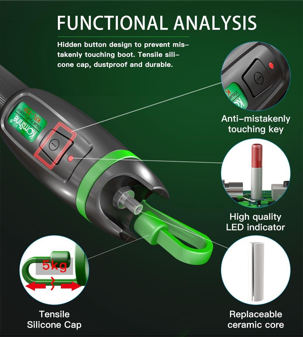Image 4 - 30KM Testing range Pen type Optic Fiber Visual Fault Locator 30mW Komshine KFL 11P 30 Fiber Optic Laser aluminum alloy material-in Fiber Optic Equipments from Cellphones & Telecommunications