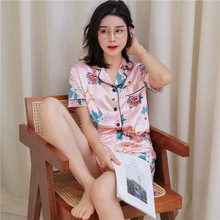 Pajamas women summer silk short sleeve pyjamas set sexy V-neck home clothing satin pajamas cute print casual pijama mujer
