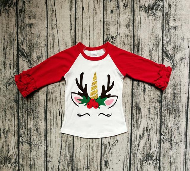 15076f691 INS Xmas Deer Unicorn print Shirt Kids cotton raglan tshirt Baby red white ruffle  tshirts tops