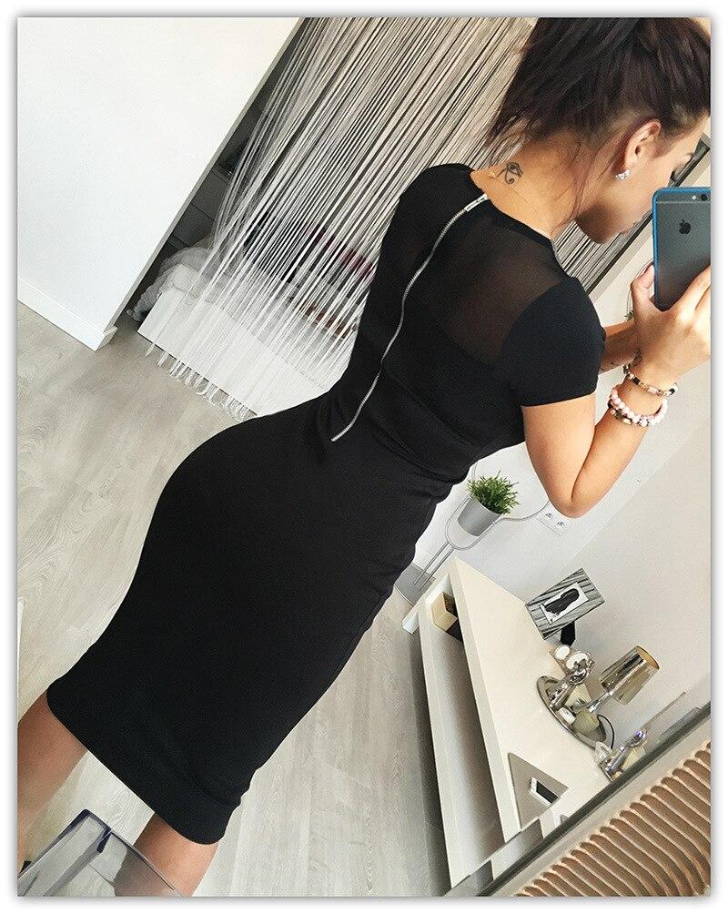2017 autumn and winter fashion yarn splicing back zipper short sleeved knee office sexy women's dress