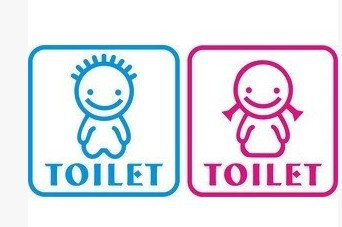 WC Sign Wall Sticker Adhesive Kindergarten Toilet Girl And Boy Label Signs In Stickers From Home Garden On Aliexpress