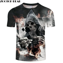 Skull Poker 3D Printed Men's T-shirt Women t shirt 2018 Summer Short Sleeve Tops Tees Drop Ship ZOOTOP BEAR(China)