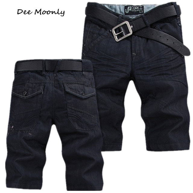 DEE MOONLY Size 28-42 ,2016 New Fashion Men's Jeans Shorts,Famous Brand Short Jeans 100% Cotton,Dark Color,Men's Casual Shorts
