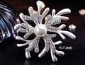 2016 Nova Coral Flor Broche de Pérolas de Moda do Presente do Dia Dos Namorados Presentes de Casamento de Cristal Cheio Broche de Pneus Coringa Elfos Alta-grau