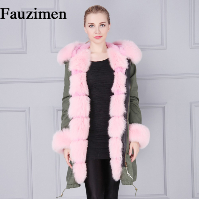caqui Rosa Fur Collar forrado Verde Real piel falso larga Parka Fox Bqxaawd5