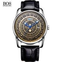 Анжела BOS Ретро стереоскопический Майя календари циферблат нержавеющая сталь Автоматические часы для мужчин s механические светящиеся Эли