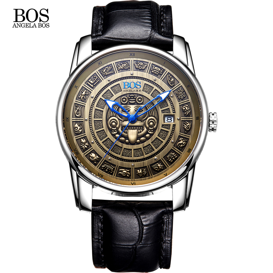 ANGELA BOS Retro Stereoscopic Maya Calendar Dial Stainless Steel Automatic Watch Mens Mechanical Luminous Luxury Brand