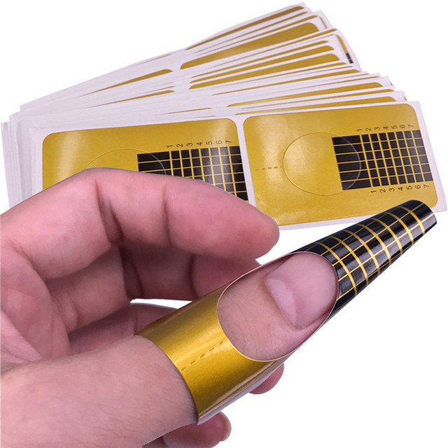 20Pcs Gold Nail Form Extension Gel Guide Tape Sticker For Acrylic Curve UV Gel French Tip Nail Art Tool Manicure #N