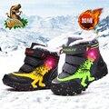 Зимние ботинки Dinoskulls для маленьких детей  обувь для мальчиков с подсветкой  детские зимние ботинки из кожи и флиса  светящийся динозавр  обу...