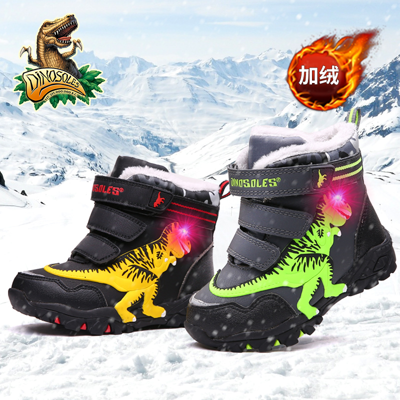 Dinoskulls Little Kids Winter Boots Shoes Boys Led Lighted Children Snow Boots Leather Warm Fleece Glowing Dinosaur T-rex Shoes
