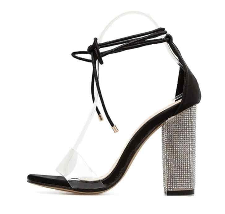 Cristal femmes sandales à talons hauts strass clair Transparent à lacets talons hauts Sexy dames chaussures taille 34 à 43