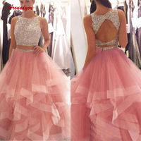 Luxury Crystals Quinceanera Dresses Ball Gown Two 2 Piece Ruffle Tulle Prom Debutante Sweet 16 Dress vestidos de 15 anos