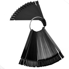 50Pcs Black Nail Art Tips Display Practice Stick Fan Shaped Board False Training Round Hoop Wheel UV Gel Polish Manicure Tools цена