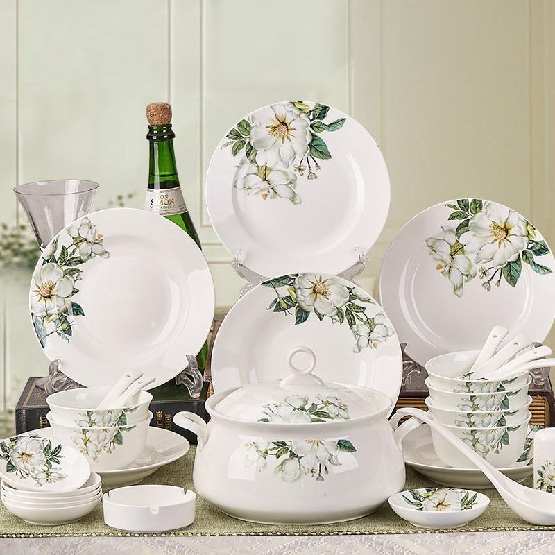Ceramic Dinnerware <font><b>Sets</b></font> Camellia Cutlery <font><b>Set</b></font> Chinese Tableware