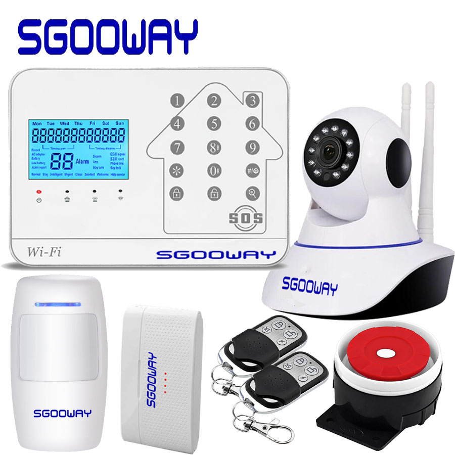 Sgooway New WIFI GSM PSTN Alarm System For Home Alarm With IP Camera Support iOS/Android APP controlSgooway New WIFI GSM PSTN Alarm System For Home Alarm With IP Camera Support iOS/Android APP control