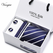 2019 Men`s Tie 100% Silk Jacquard Woven Necktie Hanky Cufflinks  Sets For Formal Wedding Business Party gift box pack 0305-S5