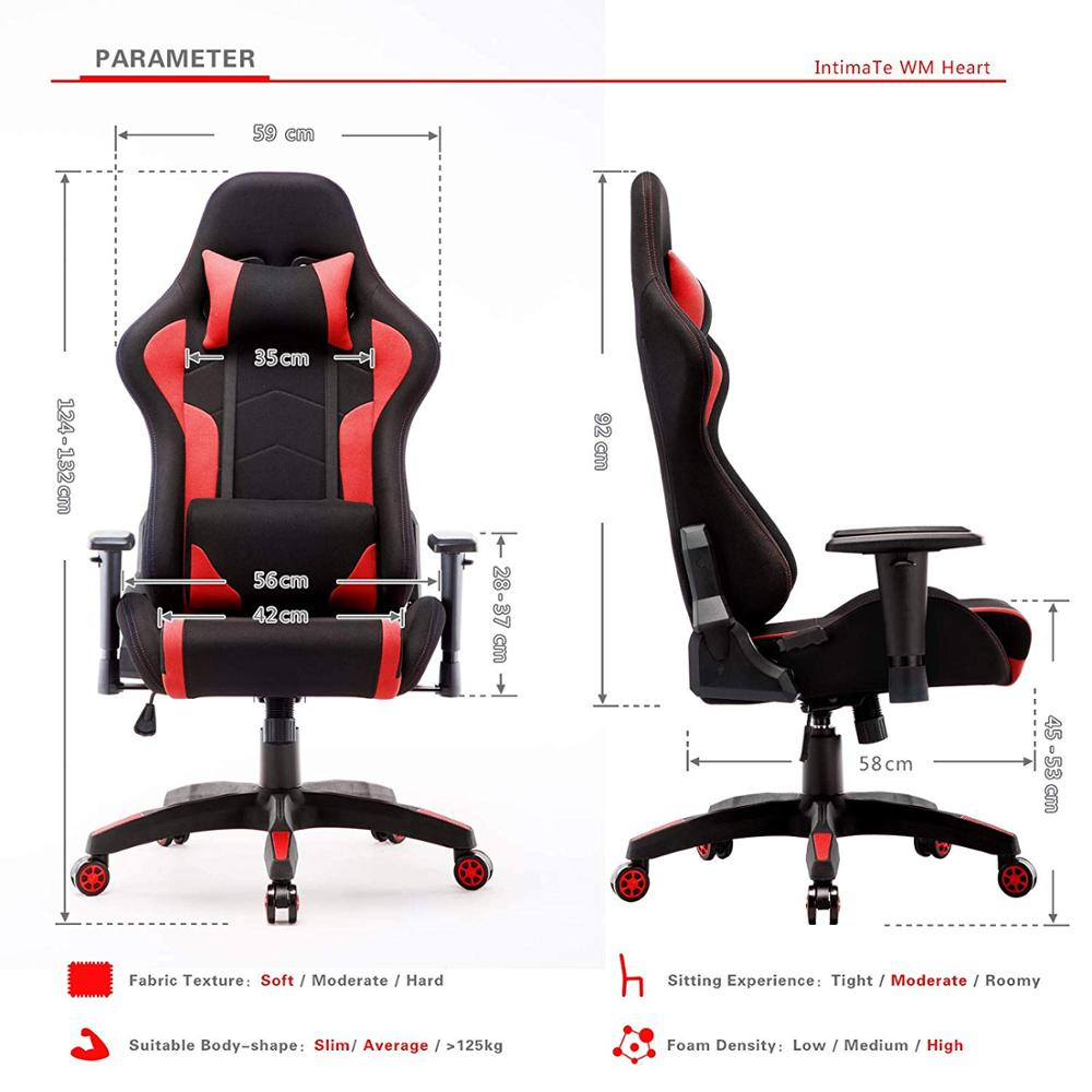 IntimaTe WM Fabric Gaming Computer Chair Breathable Racing Office Armchair Ergonomic Swivel High Back Recliner Chair A35