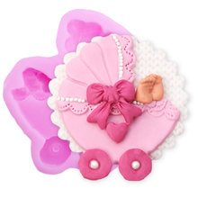 Kitchen Accessories Cake Tools Silicone Mold Baby Carriage Shape Soap Pastry  Chocolate Stencils Bakeware