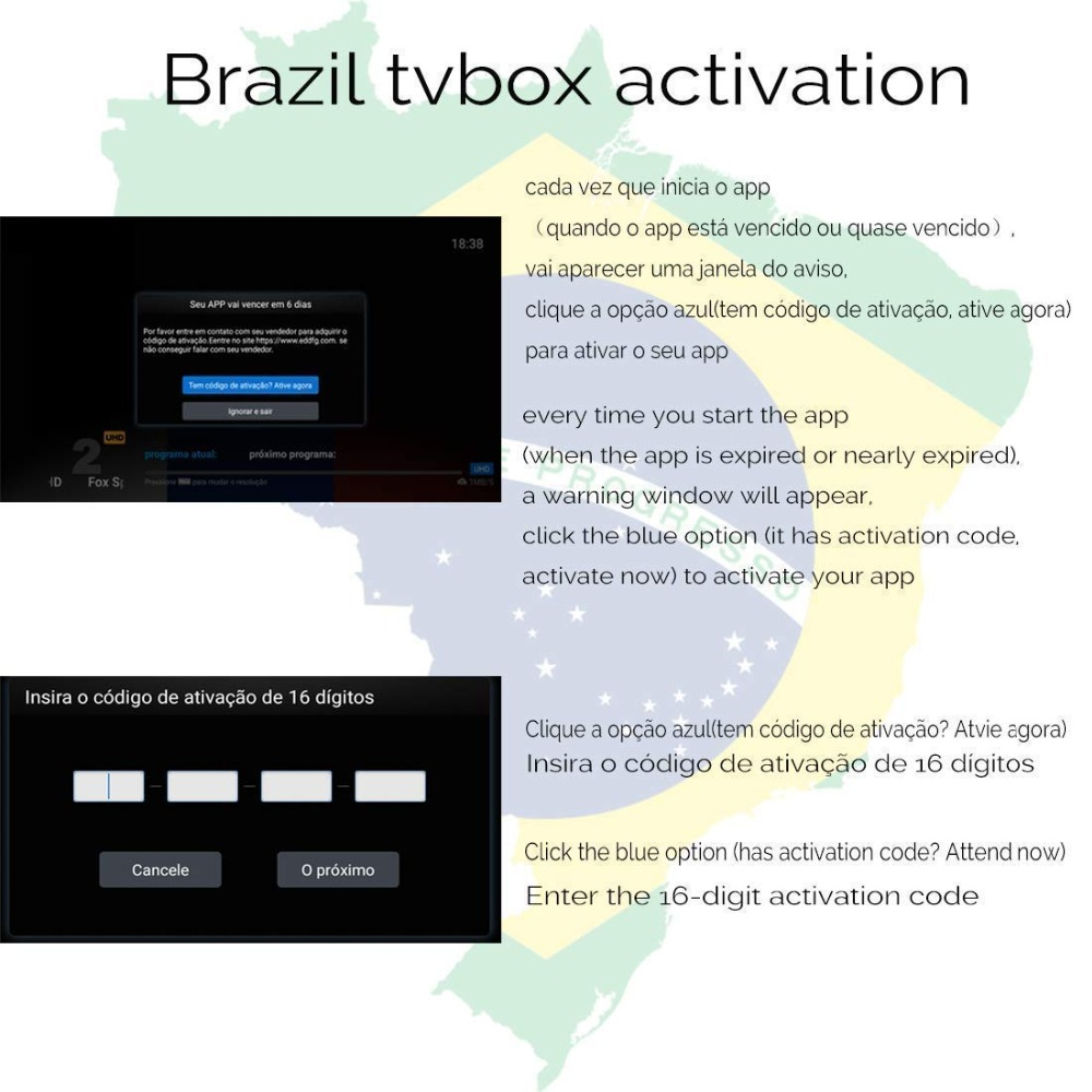 Brazil Brailian TV Box Renew Code Activation Code for A1/A2