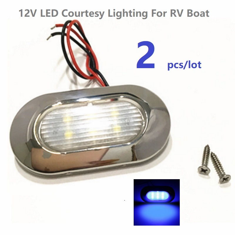 Efficient 2pcs/lot 12v Dc Blue Led Courtesy Light Waterproof Ip66 Garden Accent Deck/step Lamps /rv/caravan/boat/yacht/marine Lighting Warm And Windproof Atv,rv,boat & Other Vehicle