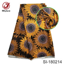 African flower pattern printed silk fabric fashionable digital printed design nigerian silk fabric for party SI180214 fashionable flower leaf ethnic pattern colored tie for men