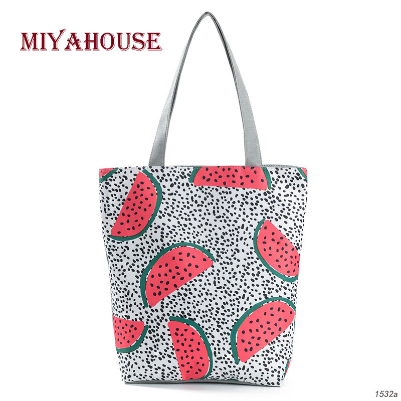 Summer Fruit Watermelon Printing Beach Bags For Female Soft Canvas Tote Bag Trendy Dots Design Shoulder Handbag