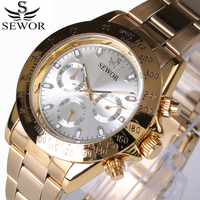 SEWOR 2017 Retro Fashion Designer Three Dial Decoration Stainless steel Golden Men Luxury Brand Automatic Mechanical Watches