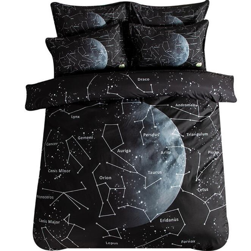 Black And White Moon Constellation Bedding Sets Twin Queen