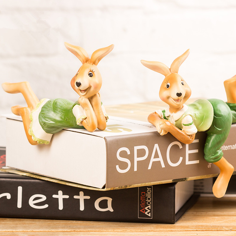 2pcs lot resin rabbit figurines statues small ornaments creative animal figurine decorative crafts easter bunny decors(China (Mainland))
