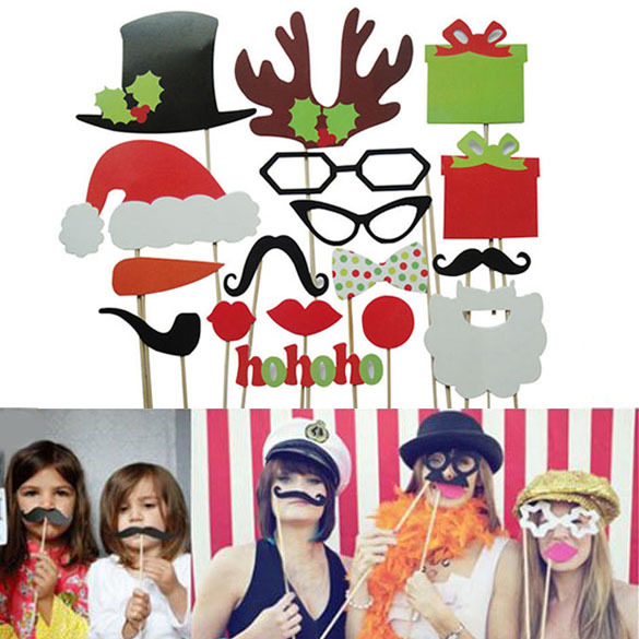 LS4G 2014 New Wedding Decoration 17Pcs DIY Photo Booth Props Mustache Lip Antler Gift Stick Christmas Party