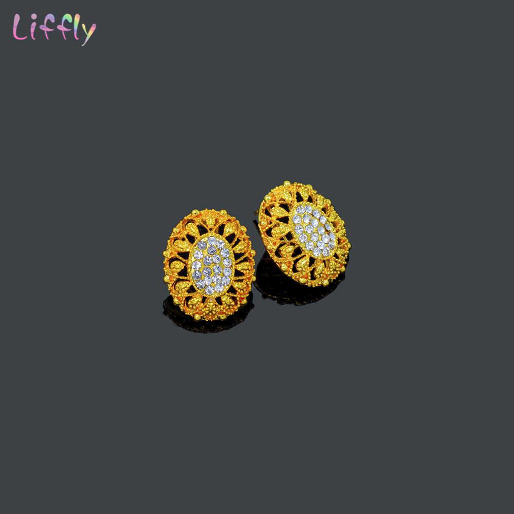 Liffly ювелирные изделия из золота из Дубаи наборы кристалл кулон ожерелье серьги Модные итальянские ювелирные изделия Шарм Свадебные Комплекты украшений для женщин