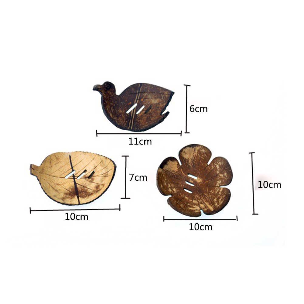 الإبداعية شكل اليدوية جوز الهند شل صحن الصابون حامل حافظة غسل دش المطبخ اكسسوارات الحمام المنزل مجموعة صحن الصابون