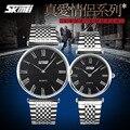 Clássico da moda Ultra-fino Amantes Pulseira de Aço Cheio Relógios Casal Retro Número Roman Negócios Vestido Relógio De Pulso 2 Mãos NW7085