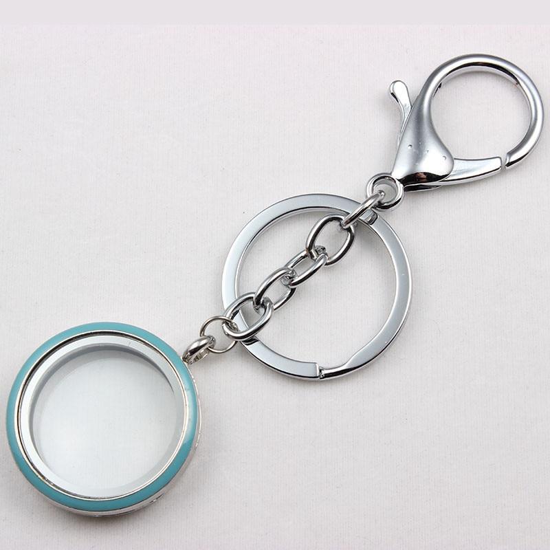 Alloy locket 30mm Magnetic Floating Locket Keychain Mix Colors Enamel Glass Floating Locket Key chain Keyring father day gift