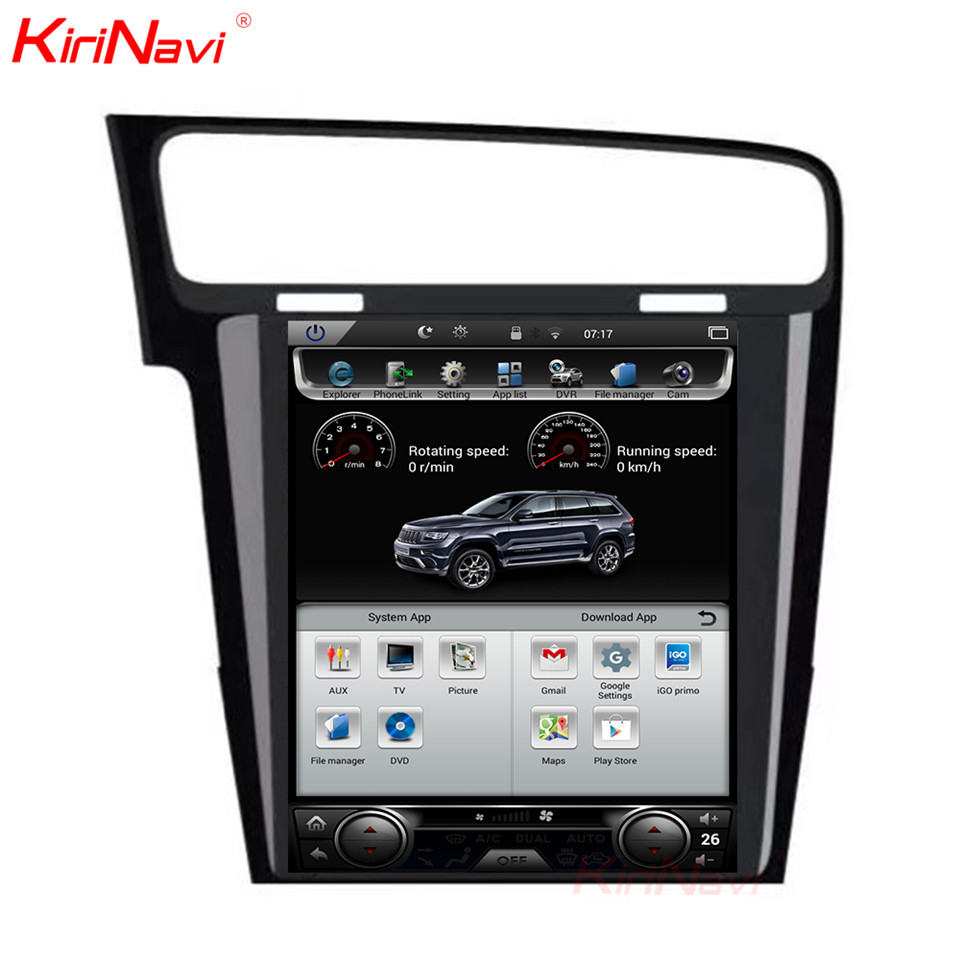 KiriNavi écran Vertical Tesla Style Android 7.1 10.4 lecteur DVD multimédia de voiture pour VW Golf 7 Radio Navigation 2013 2014 2015 + - 3