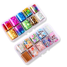 10pcs/Set Holographic Nail Foil for Nails Art Laser Sticker Manicure Template Colorful 3D Patterns DIY Nail Decal Tools цена в Москве и Питере
