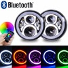 Wrangler 7 60W RGB HaloLED Round Headlight Assemblies Multicolor RGB Halo Ring Angle Eye APP Bluetooth