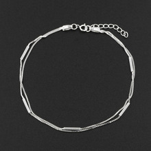 New 925 Sterling Silver Beach Double Chain Tube Lady Anklet Barefoot Foot Ankle Jewelry for Women