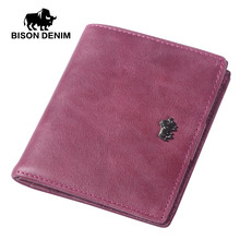 BISON DENIM 2017 luxury brand wallets designer women Genuine leather short Wallets Zipper Coin ladies leather wallets  W9317