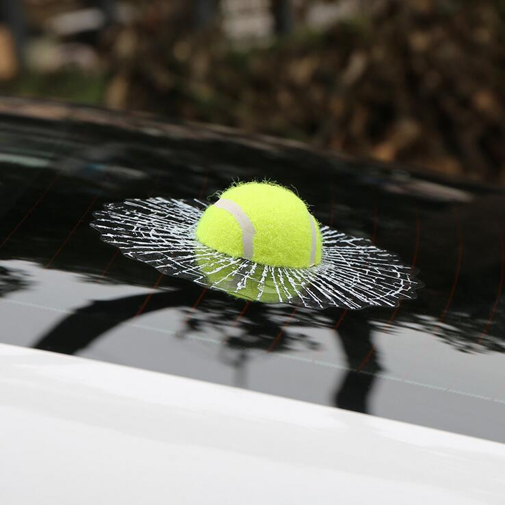 Car-styling 3D Funny Car Stickers Ball Hits Car Window Tennis Football Basketball Car Body Sticker Self Adhesive Baseball Decals football forever football hits